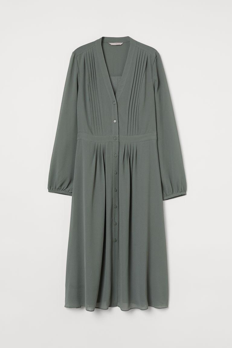 H & M - 細褶洋裝 - 綠色
