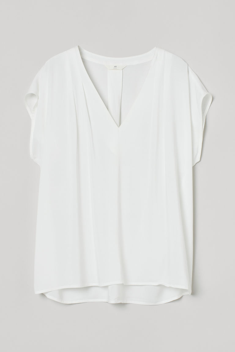 H & M - V領女衫 - 白色