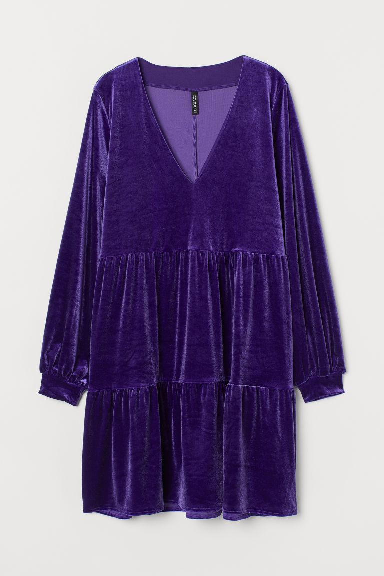 H & M - V領絲絨洋裝 - 紫色