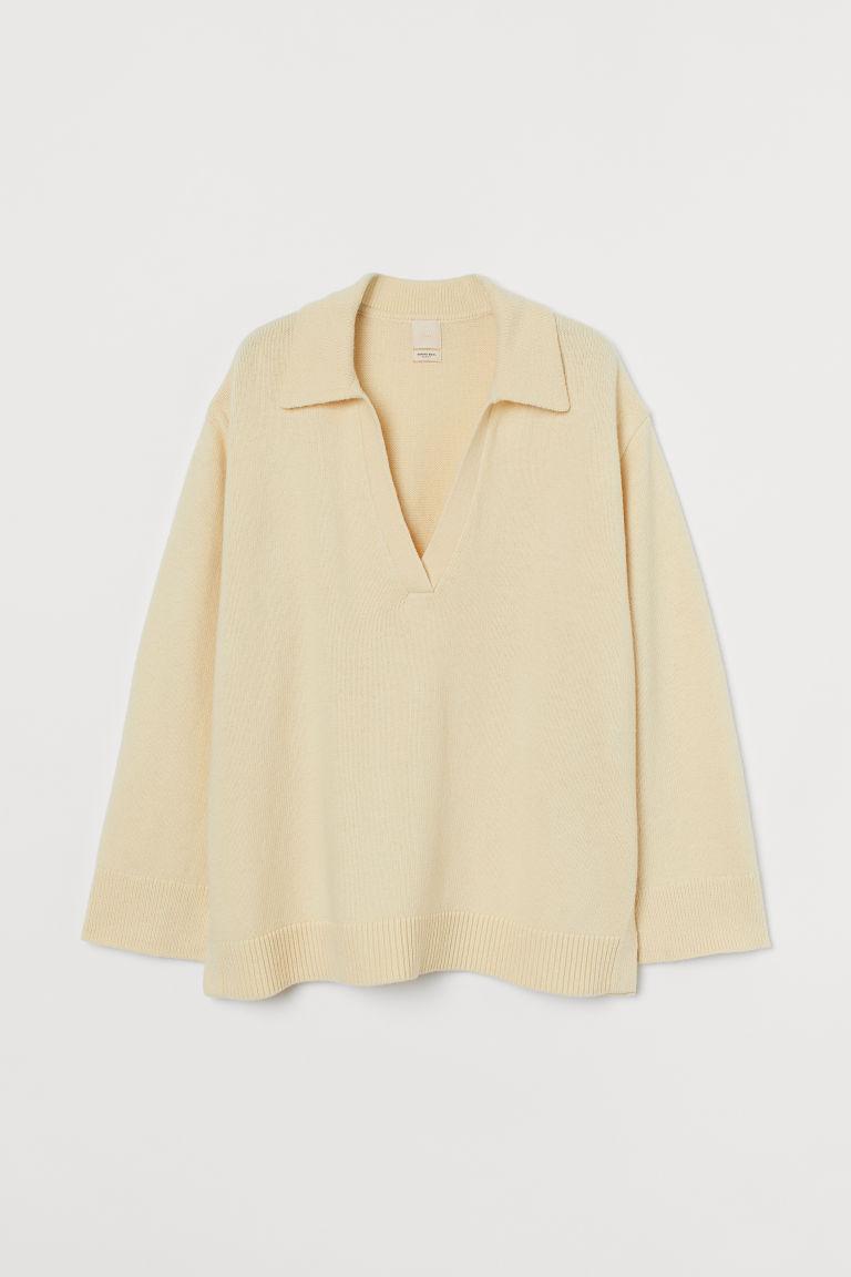 H & M - 美麗諾羊毛混紡精織套衫 - 黃色