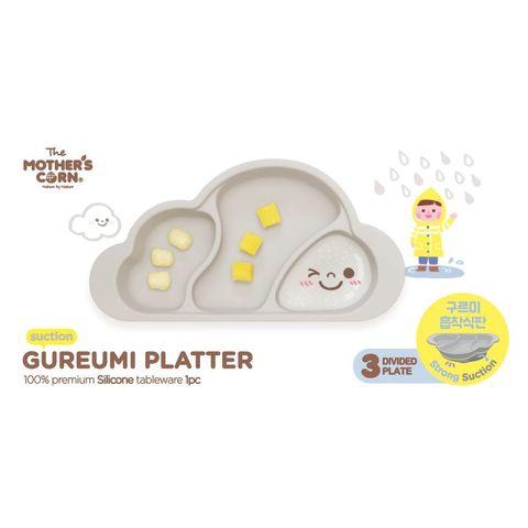 韓國 Mother's Corn 雲朵分隔矽膠餐盤(天空灰)