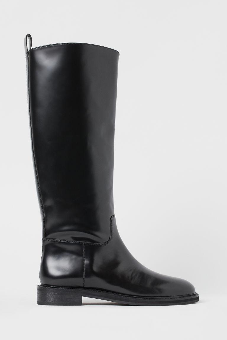 H & M - 真皮靴 - 黑色