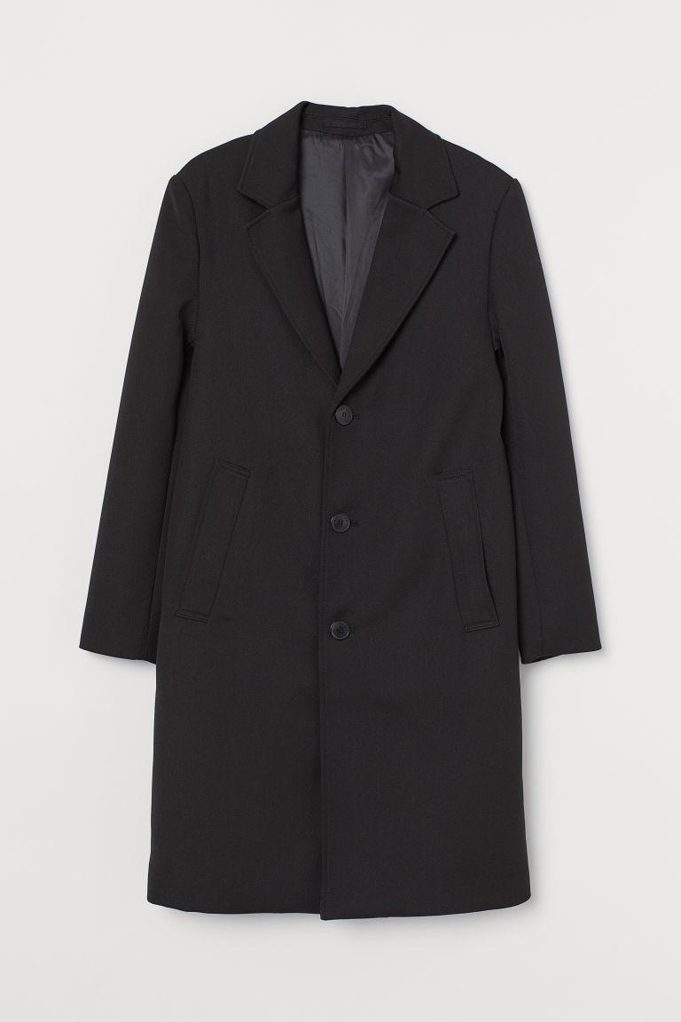 H & M - 斜紋大衣 - 黑色