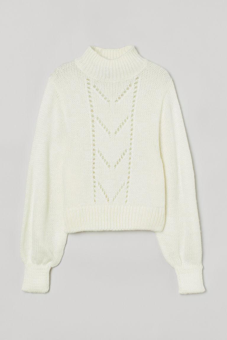 H & M - 網紗花式鉤織細節套衫 - 白色