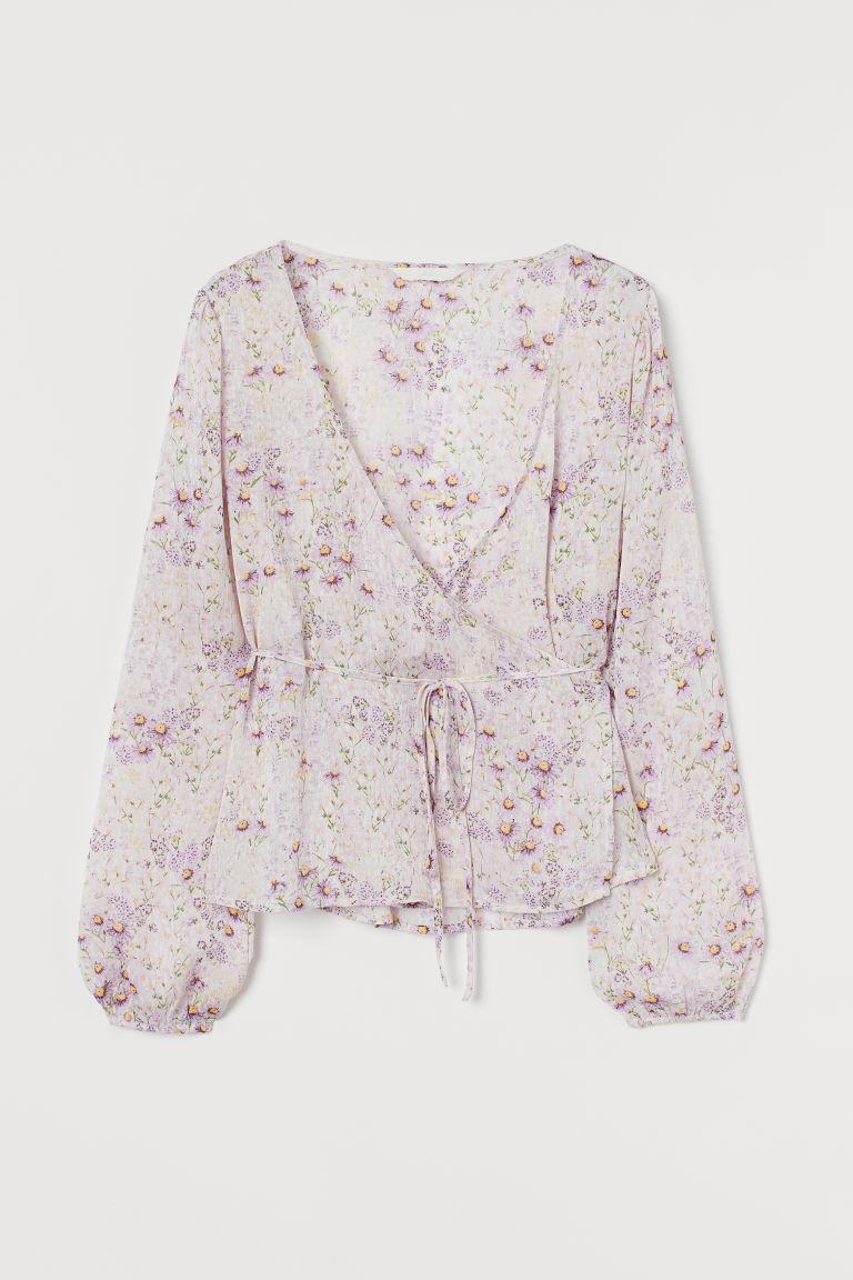 H & M - 印花交疊式女衫 - 米黃色
