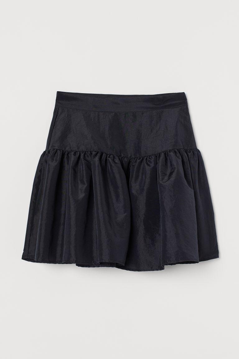 H & M - 塔夫綢短裙 - 黑色