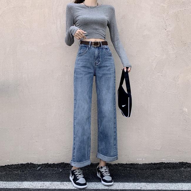 FOFU-高腰闊腿褲牛仔褲女寬鬆顯瘦垂感拖地褲子配腰帶【08SG05643】