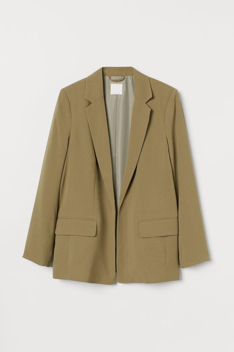 H & M - 長版外套 - 綠色