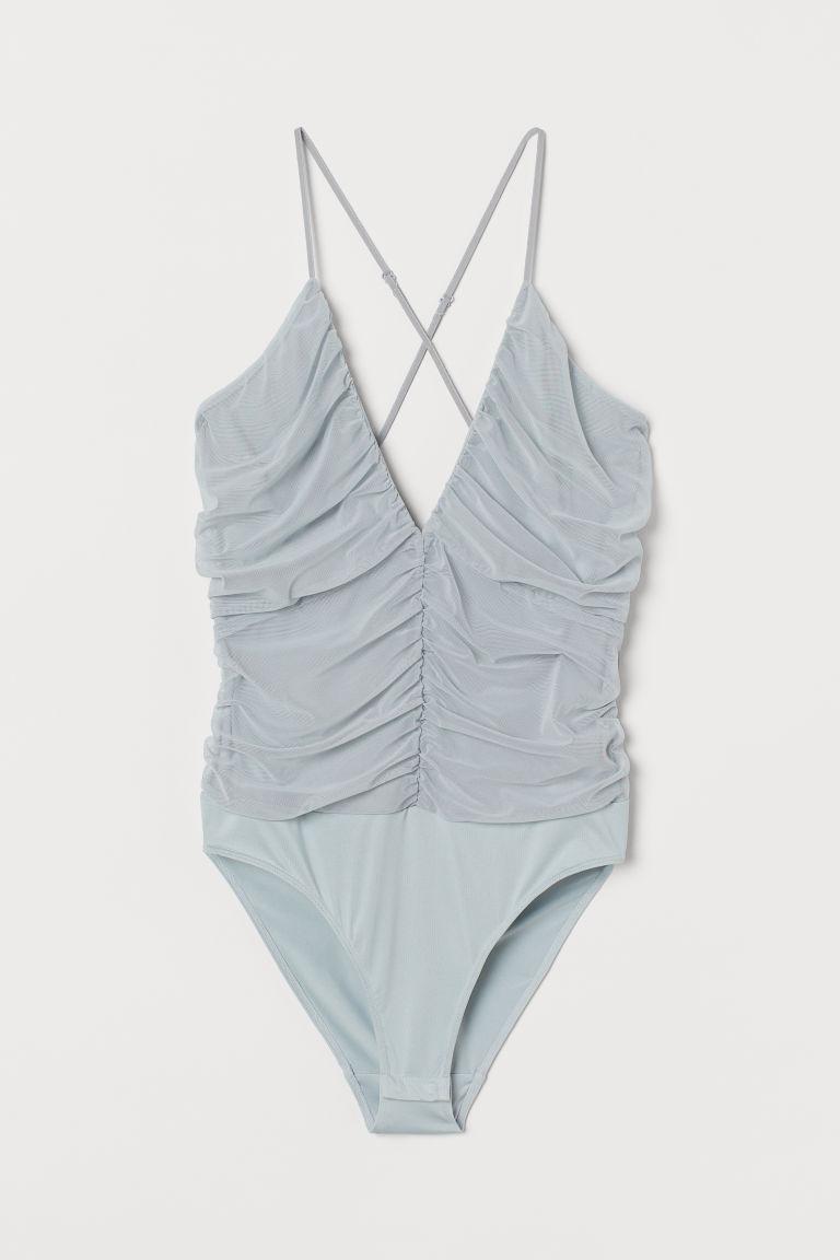 H & M - 抓皺網紗緊身連身衣 - 藍綠色