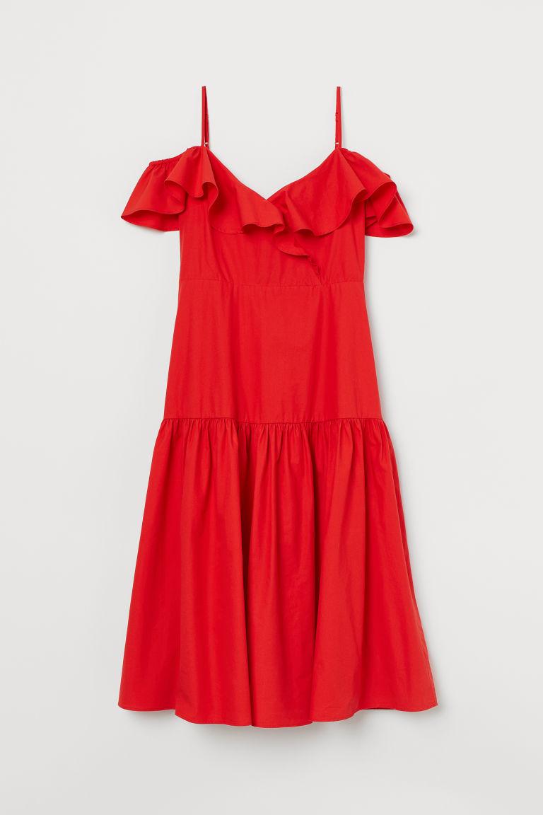 H & M - 露肩洋裝 - 紅色