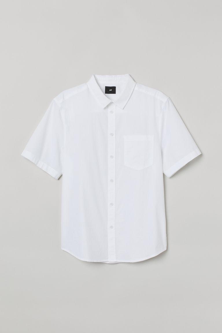H & M - 短袖棉質襯衫 - 白色