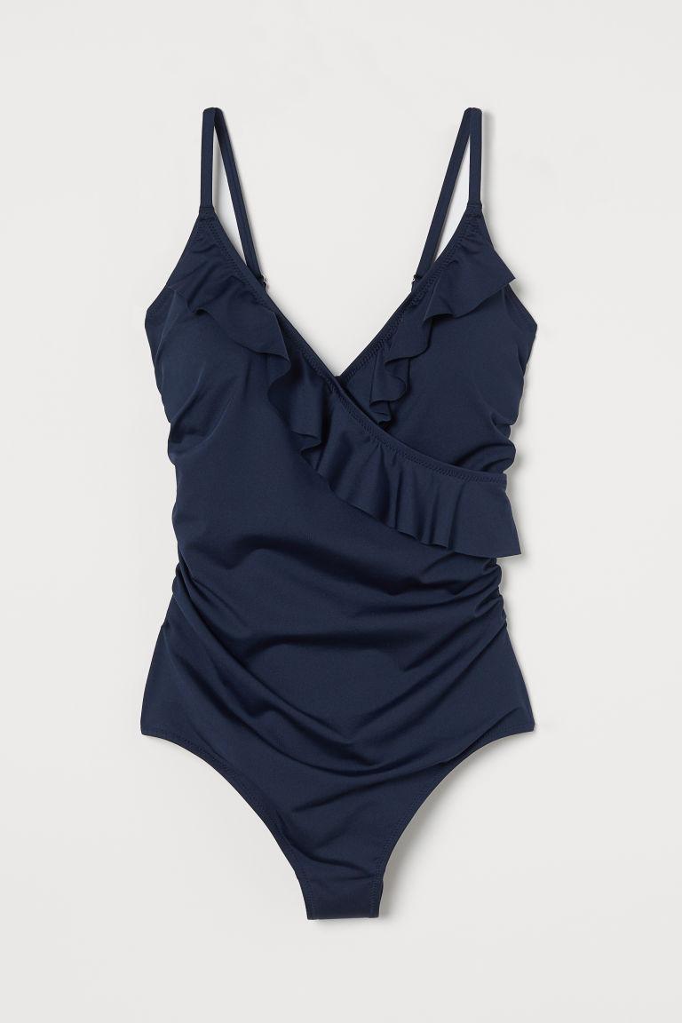 H & M - 荷葉邊塑身連身泳裝 - 藍色
