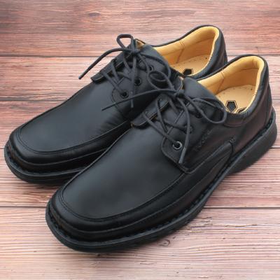 【ㄅㄆㄇGOOD】真皮經典綁帶式休閒鞋-曜石黑(G005)
