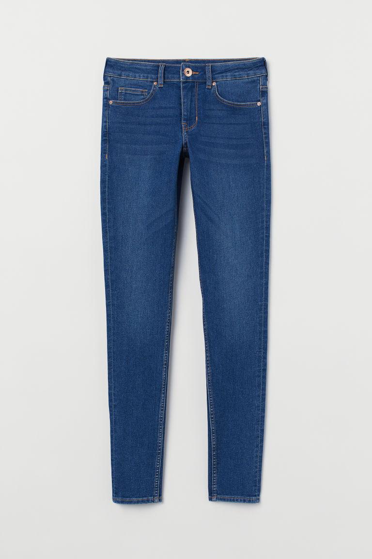 H & M - 超窄管中腰牛仔褲 - 藍色