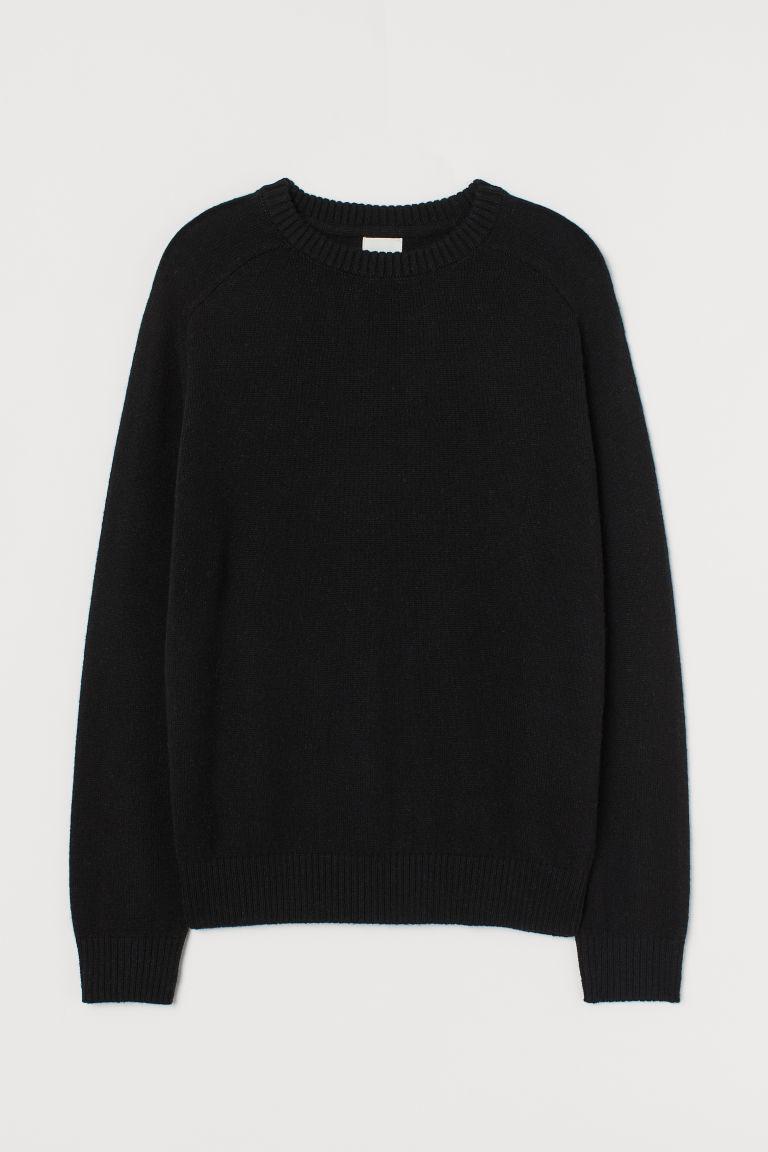 H & M - 羊毛混紡套衫 - 黑色