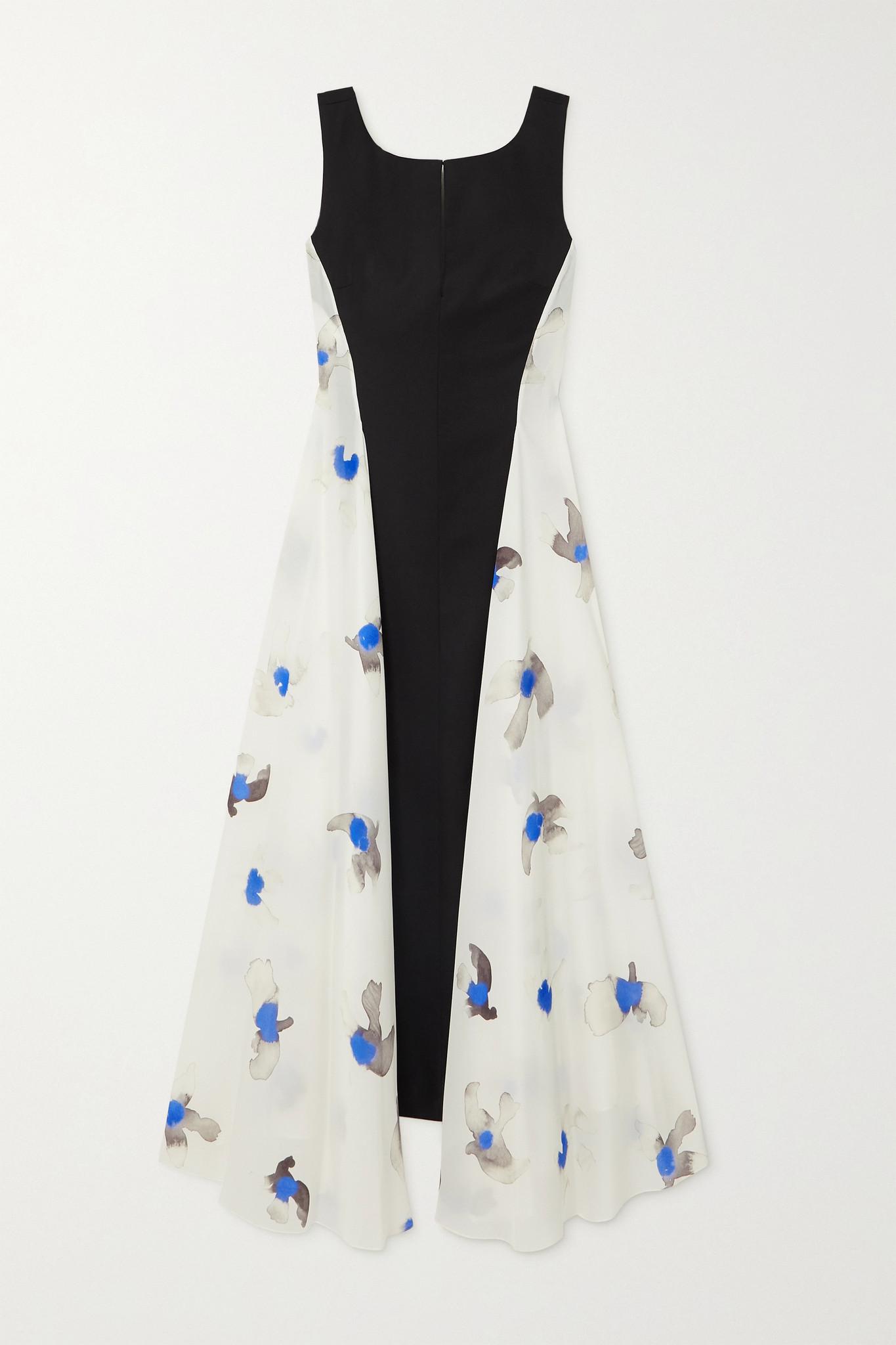 NINA RICCI - Paneled Printed Silk Crepe De Chine And Wool Dress - Ivory - FR34