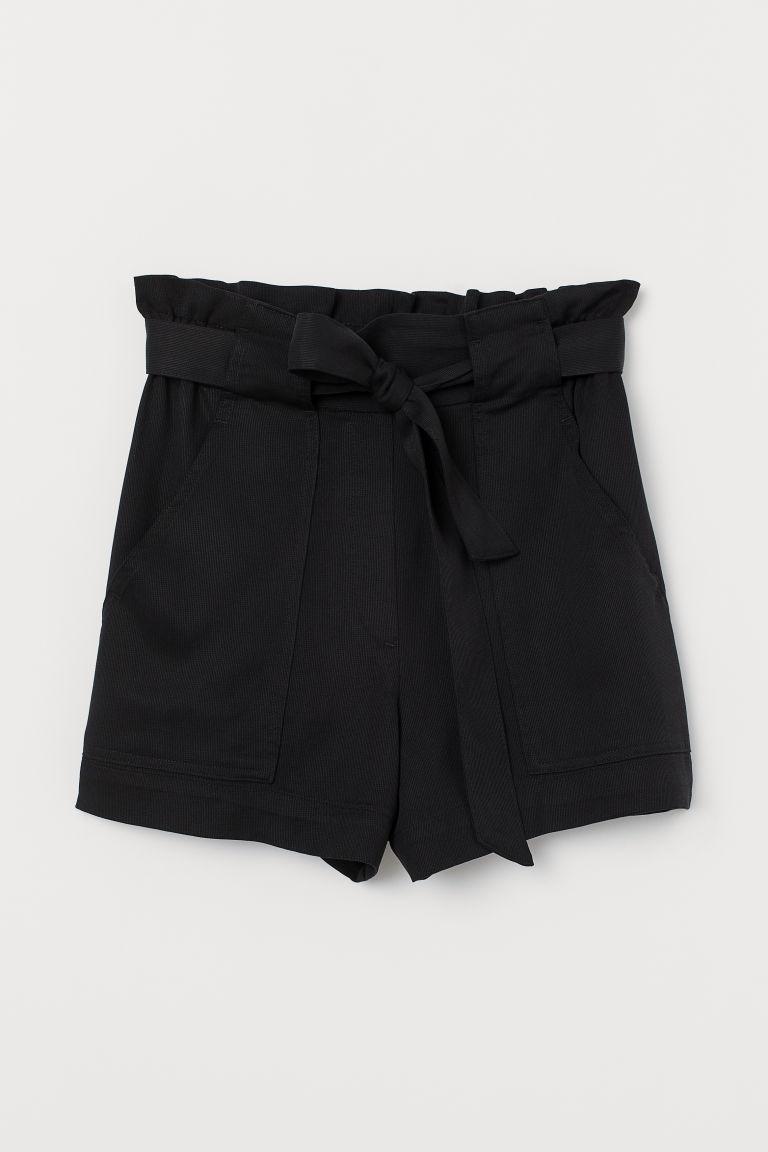 H & M - 紙袋造型腰圍短褲 - 黑色