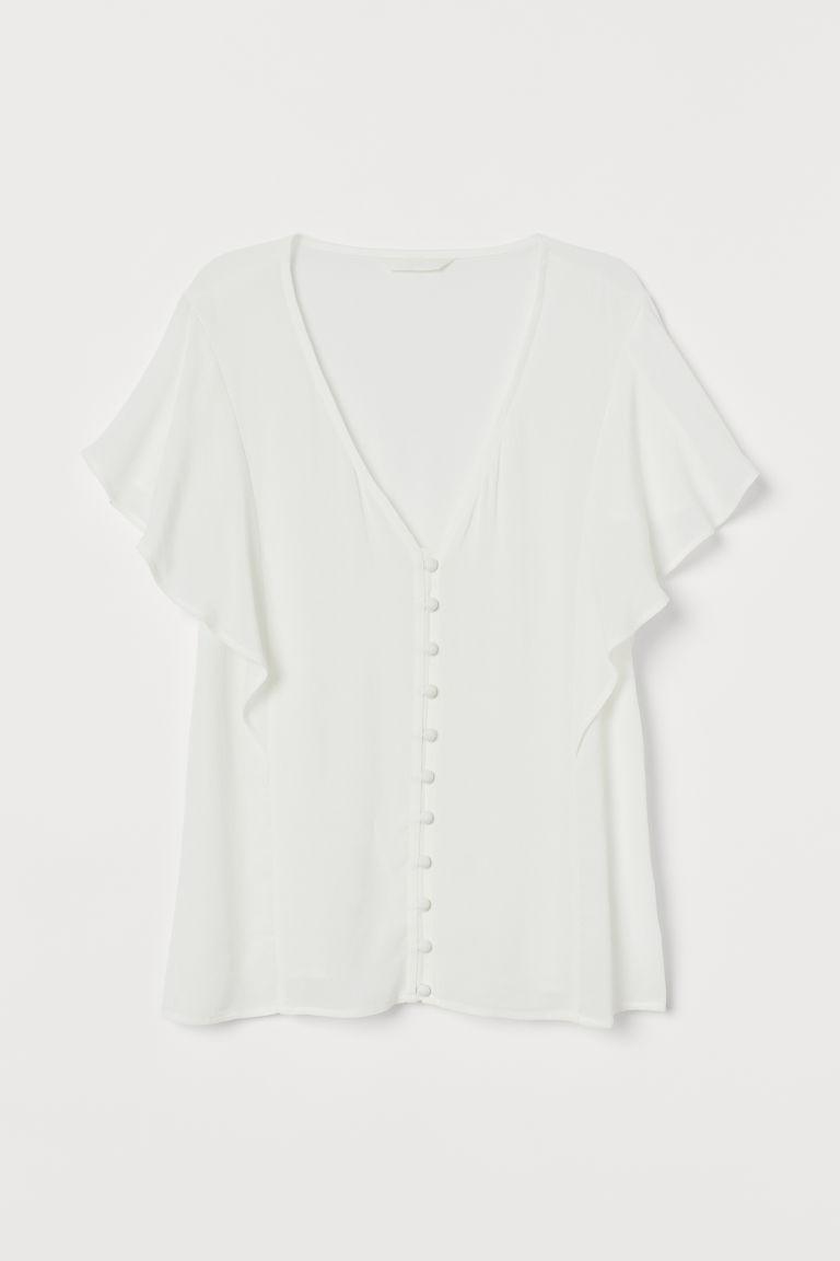 H & M - 蝴蝶袖女衫 - 白色