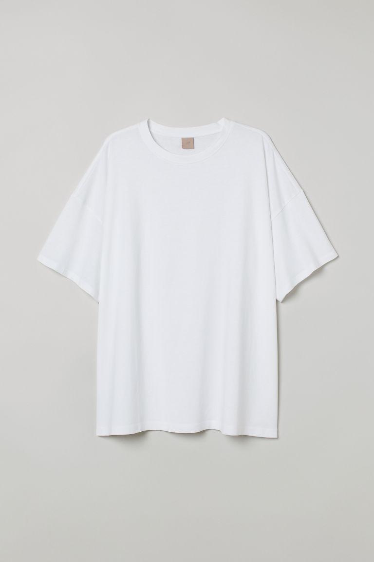 H & M - H & M+ 莫代爾混紡T恤 - 白色