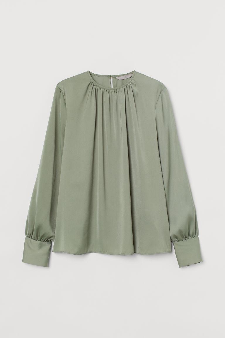 H & M - 縐紗女衫 - 綠色