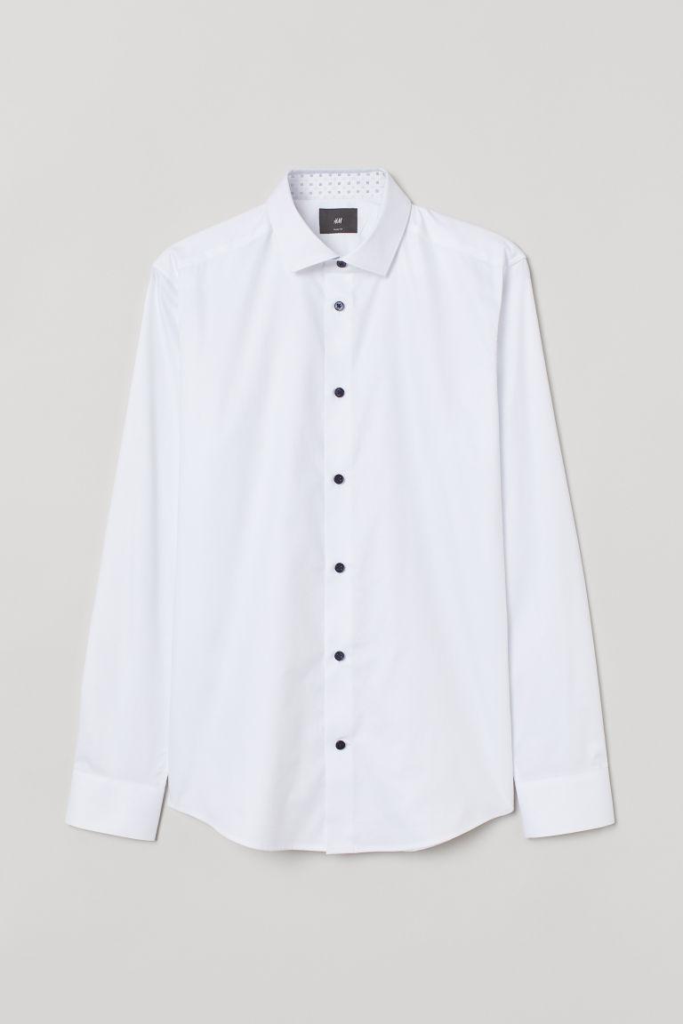 H & M - 優質棉襯衫 - 白色