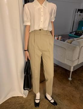 韓國空運 - Today Semi Cotton Pin Tuck Pants 長褲