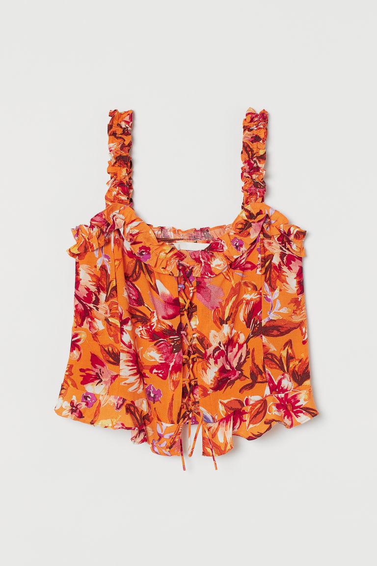 H & M - 荷葉邊上衣 - 橙色
