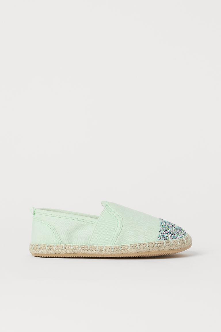 H & M - 金蔥細節草編鞋 - 綠色