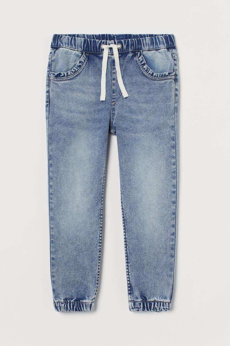H & M - 丹寧慢跑褲 - 藍色