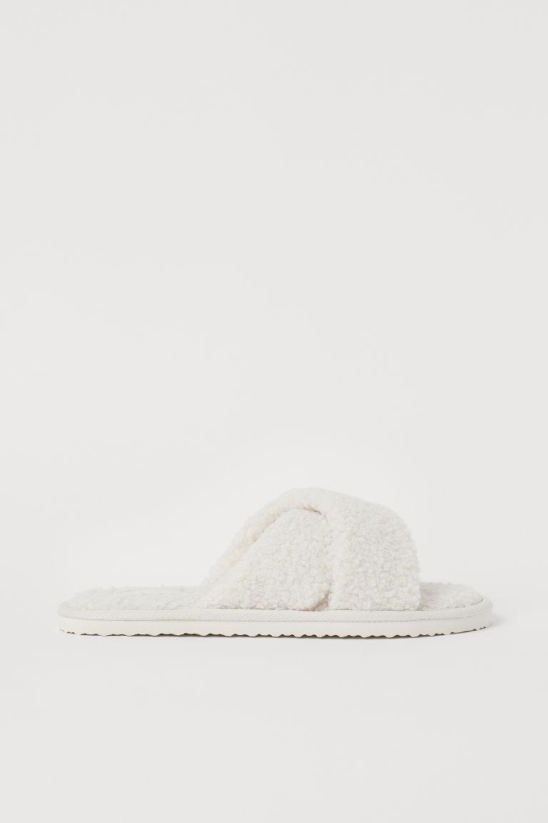 H & M - 仿綿羊家居鞋 - 白色