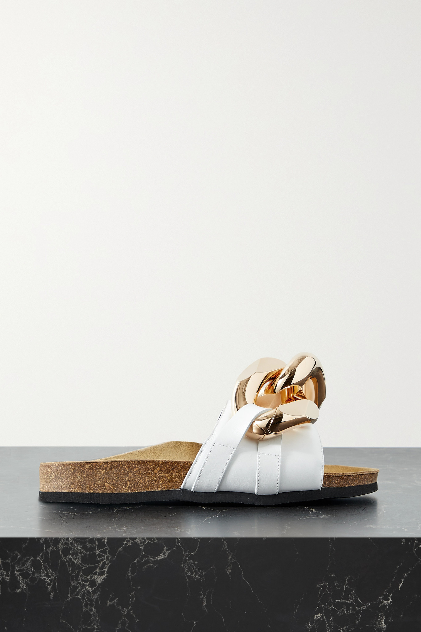 JW ANDERSON - Chain-embellished Leather Slides - White - IT36