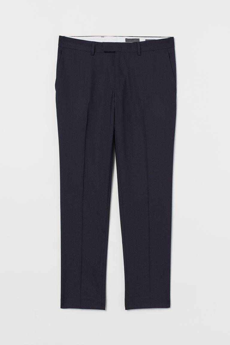 H & M - 貼身羊毛西裝褲 - 藍色