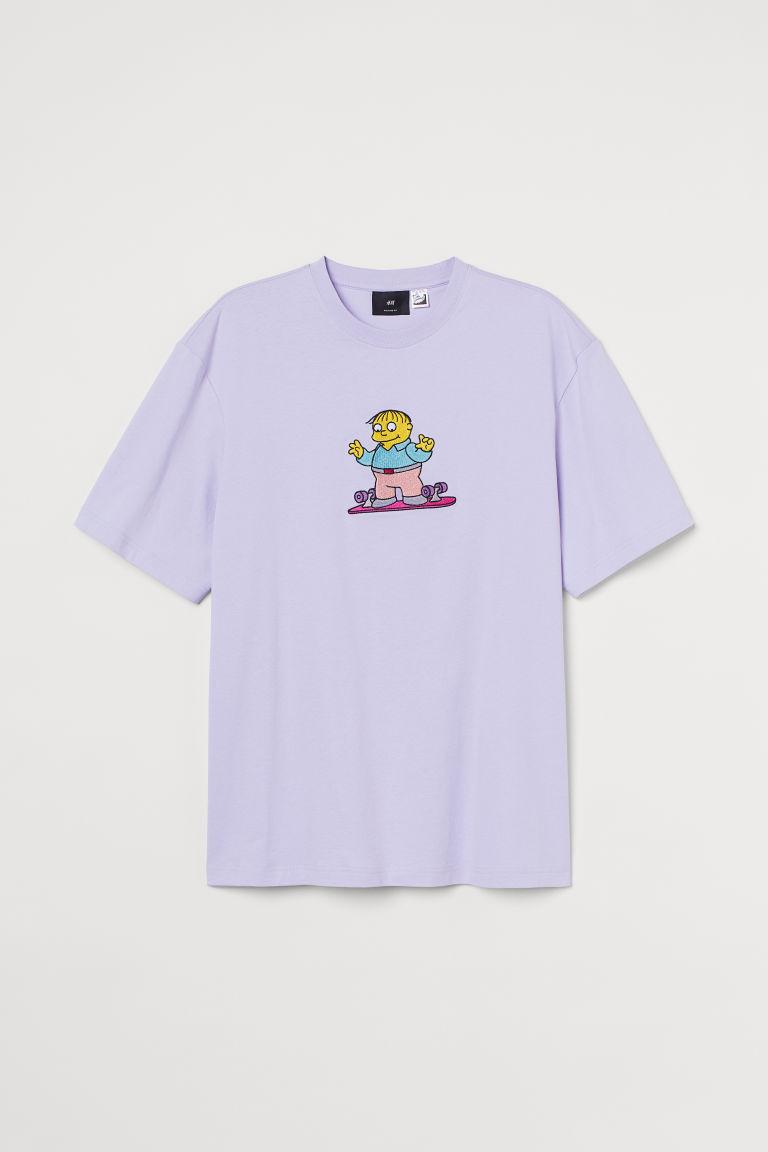 H & M - 休閒剪裁T恤 - 紫色