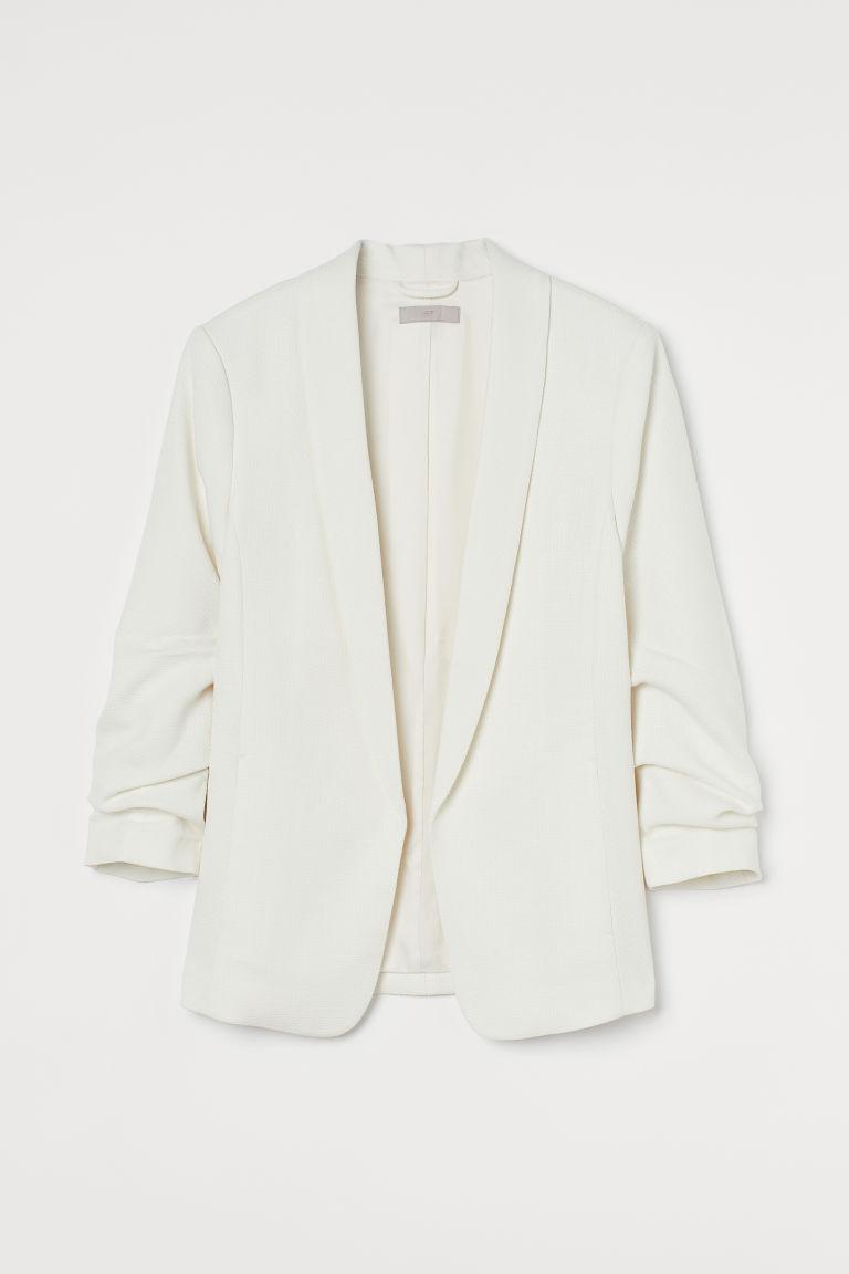 H & M - 圍巾領外套 - 白色