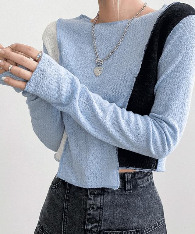 韓國空運 - Moisture Unfeeling Color Knitwear T-shirt 長袖上衣