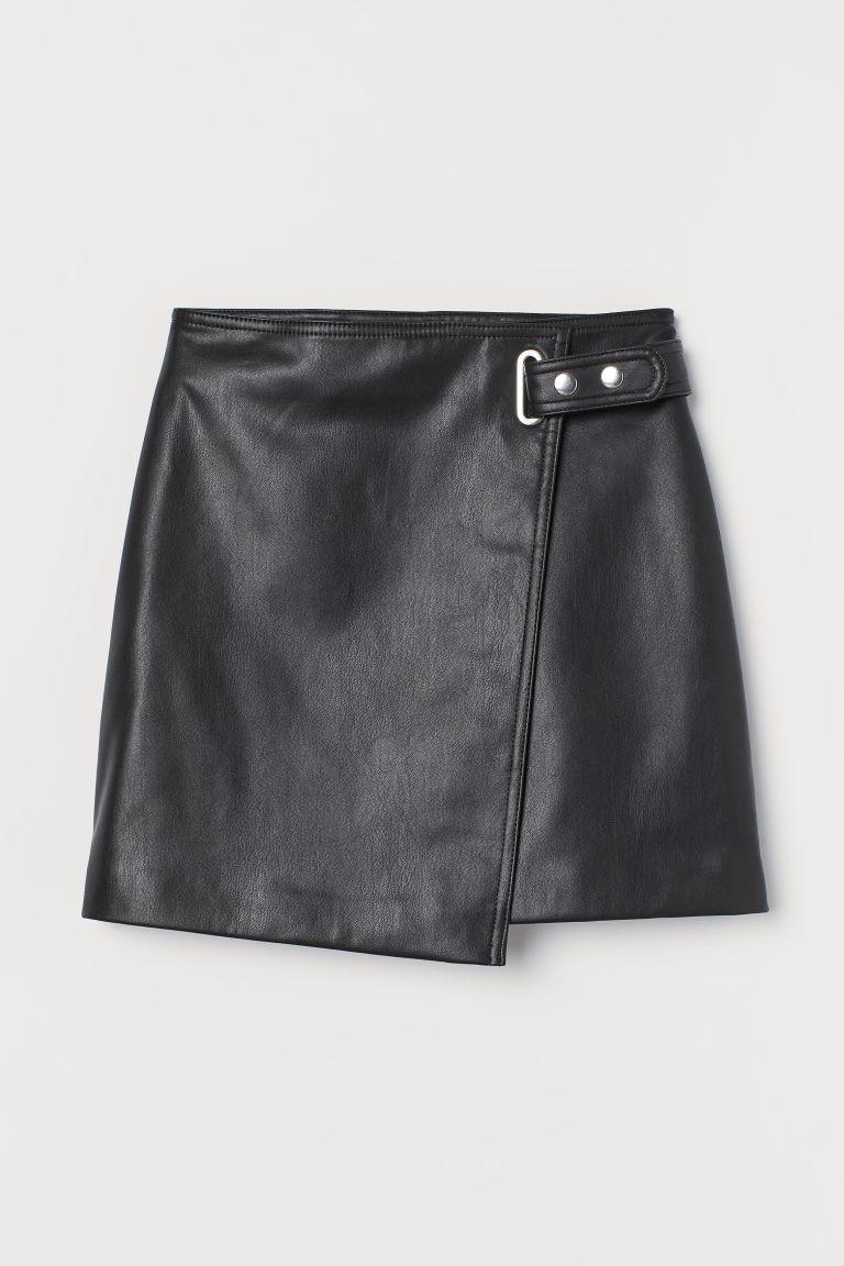 H & M - 仿皮交疊式短裙 - 黑色