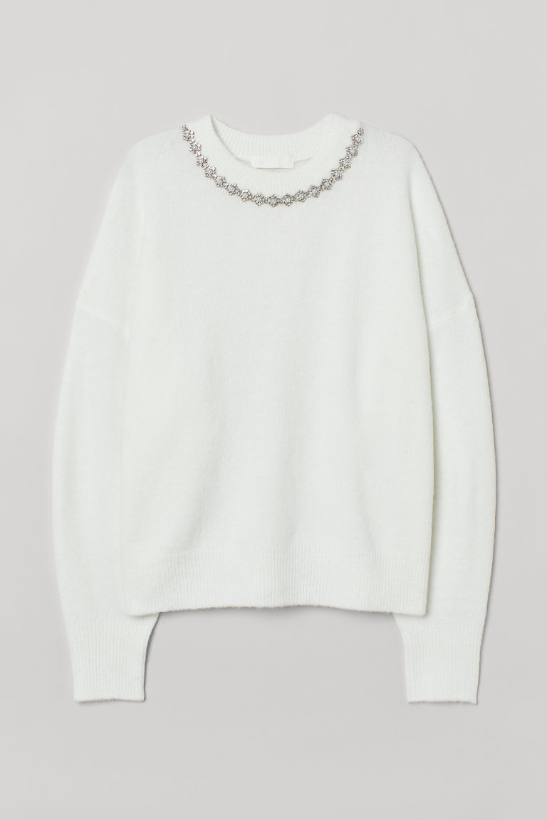 H & M - 鉚釘套衫 - 白色