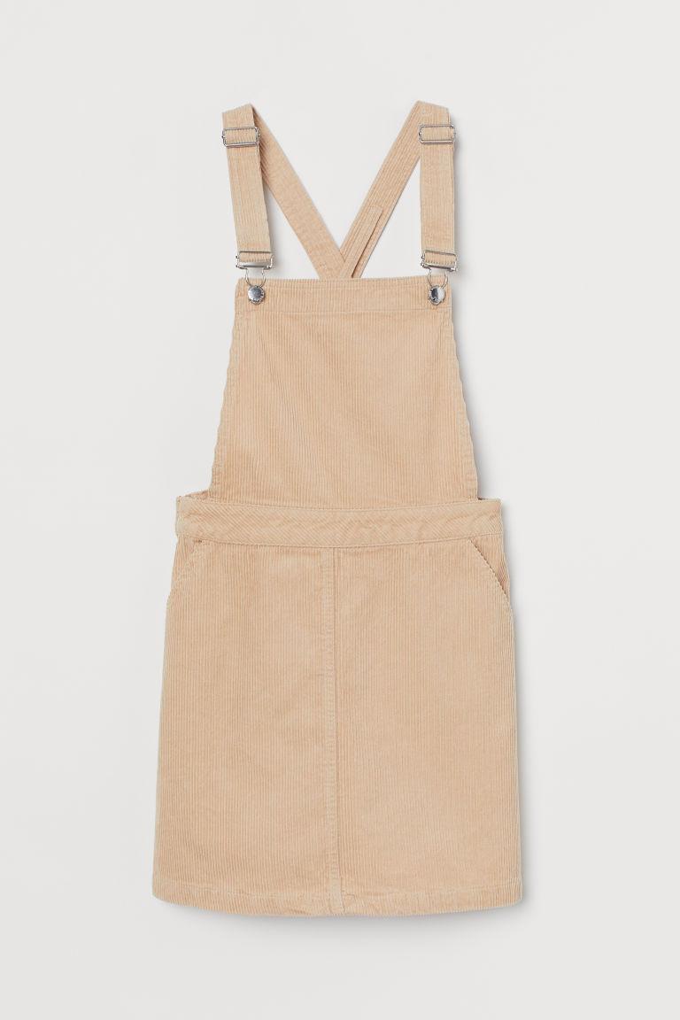 H & M - 絨布吊帶裙 - 米黃色
