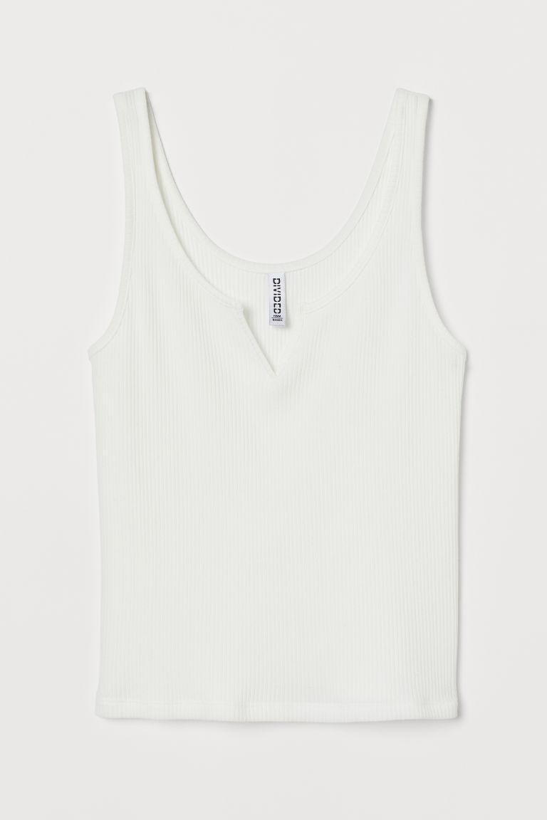 H & M - 羅紋背心上衣 - 白色