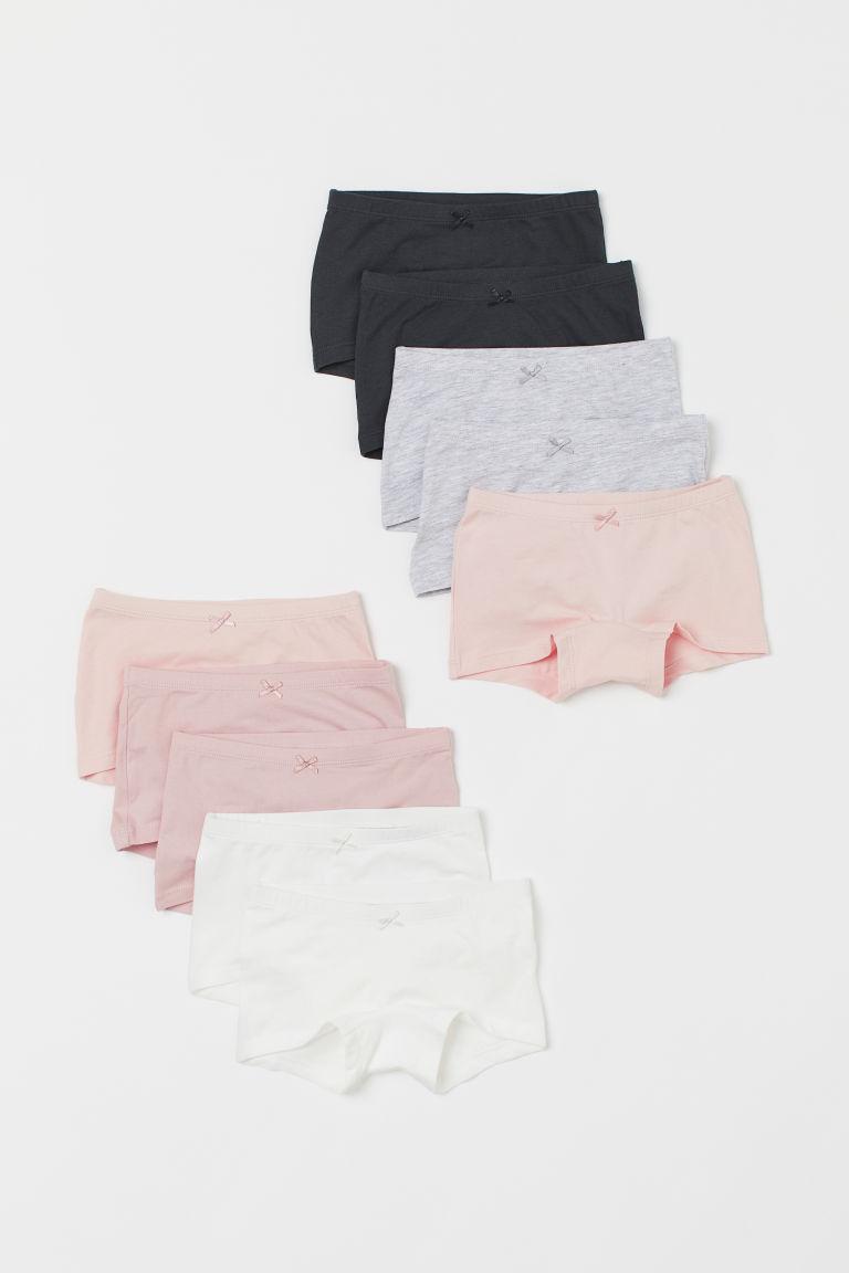 H & M - 10件入棉質平口內褲 - 粉紅色