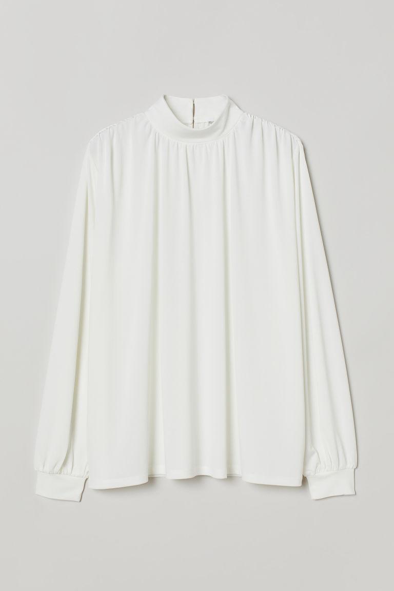 H & M - 立領上衣 - 白色