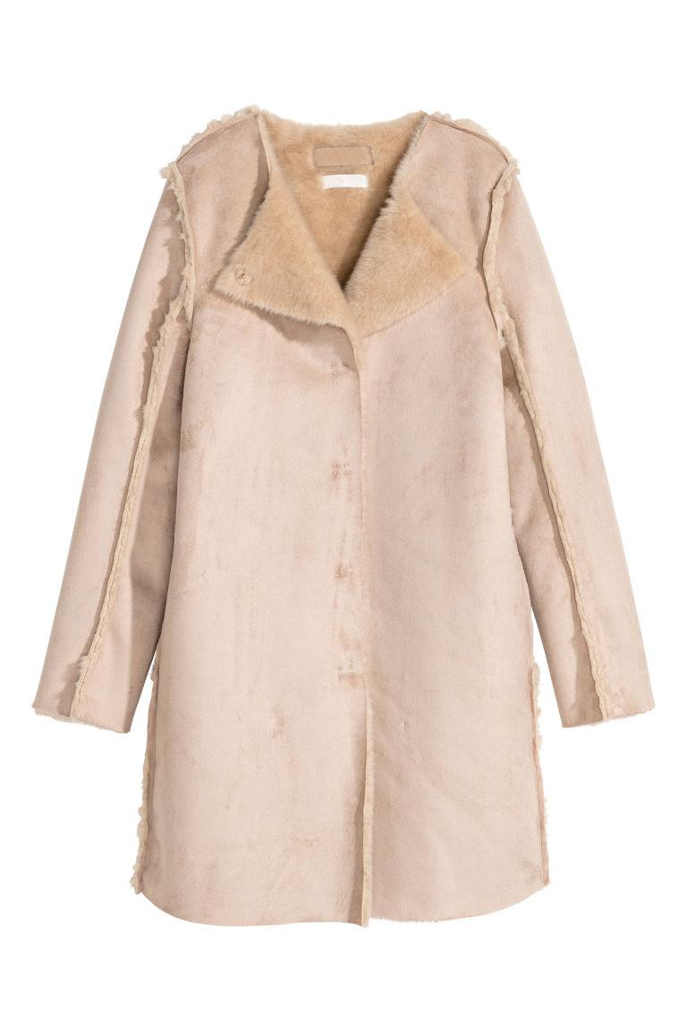 H & M - 仿麂皮大衣 - 米黃色