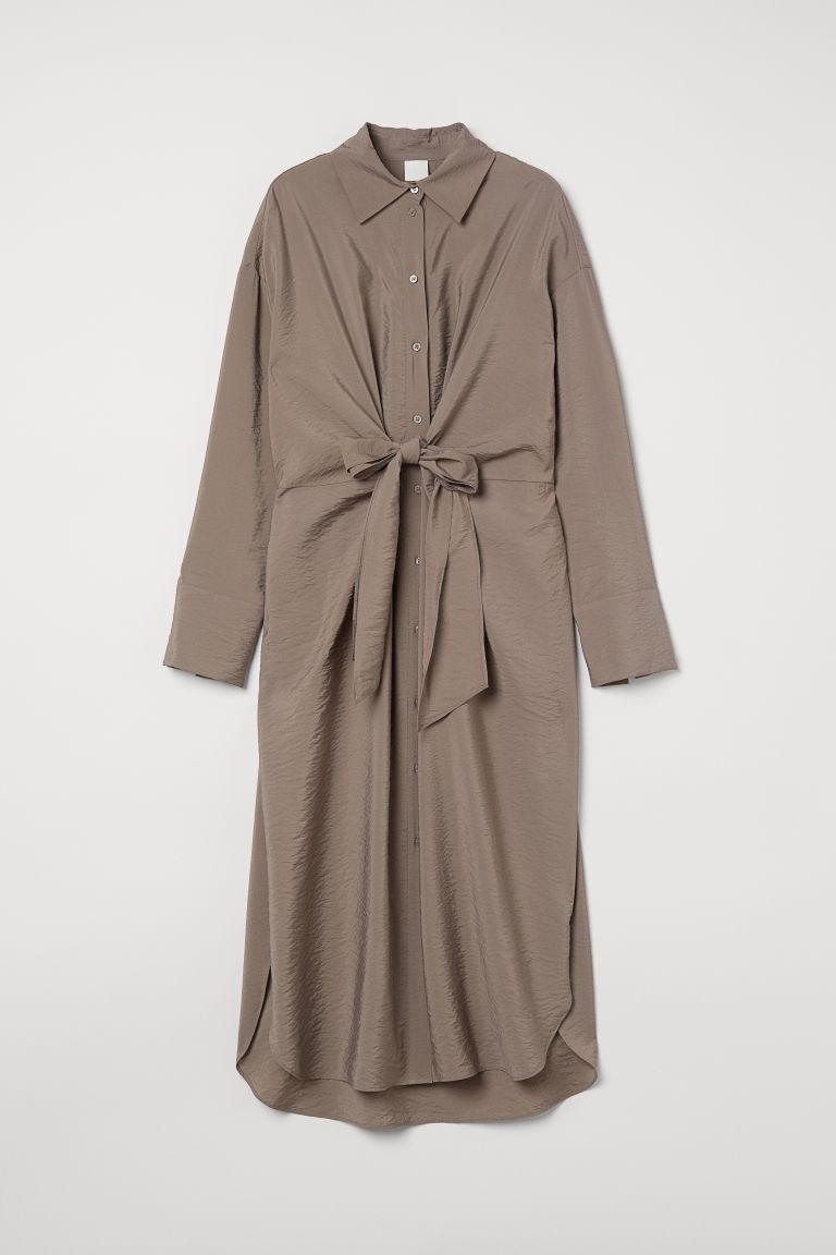 H & M - 前綁結襯衫式洋裝 - 米黃色