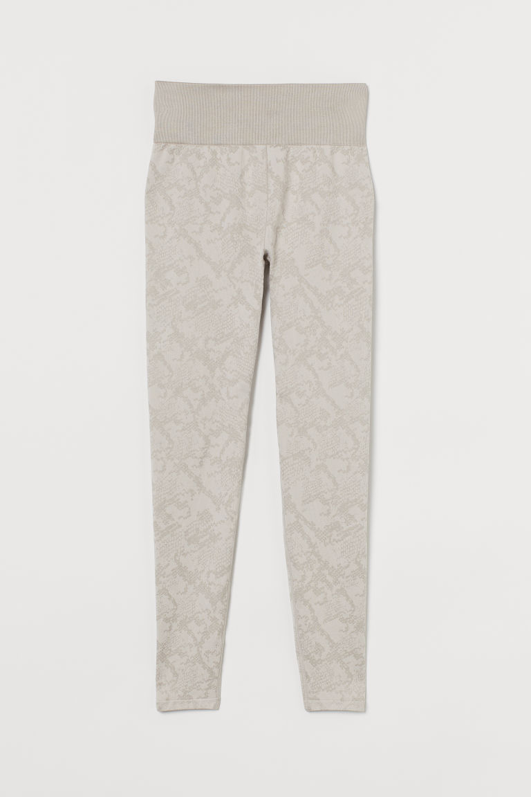 H & M - 無痕緊身運動褲 - 米黃色