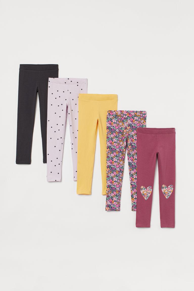H & M - 5件入棉質內搭褲 - 粉紅色