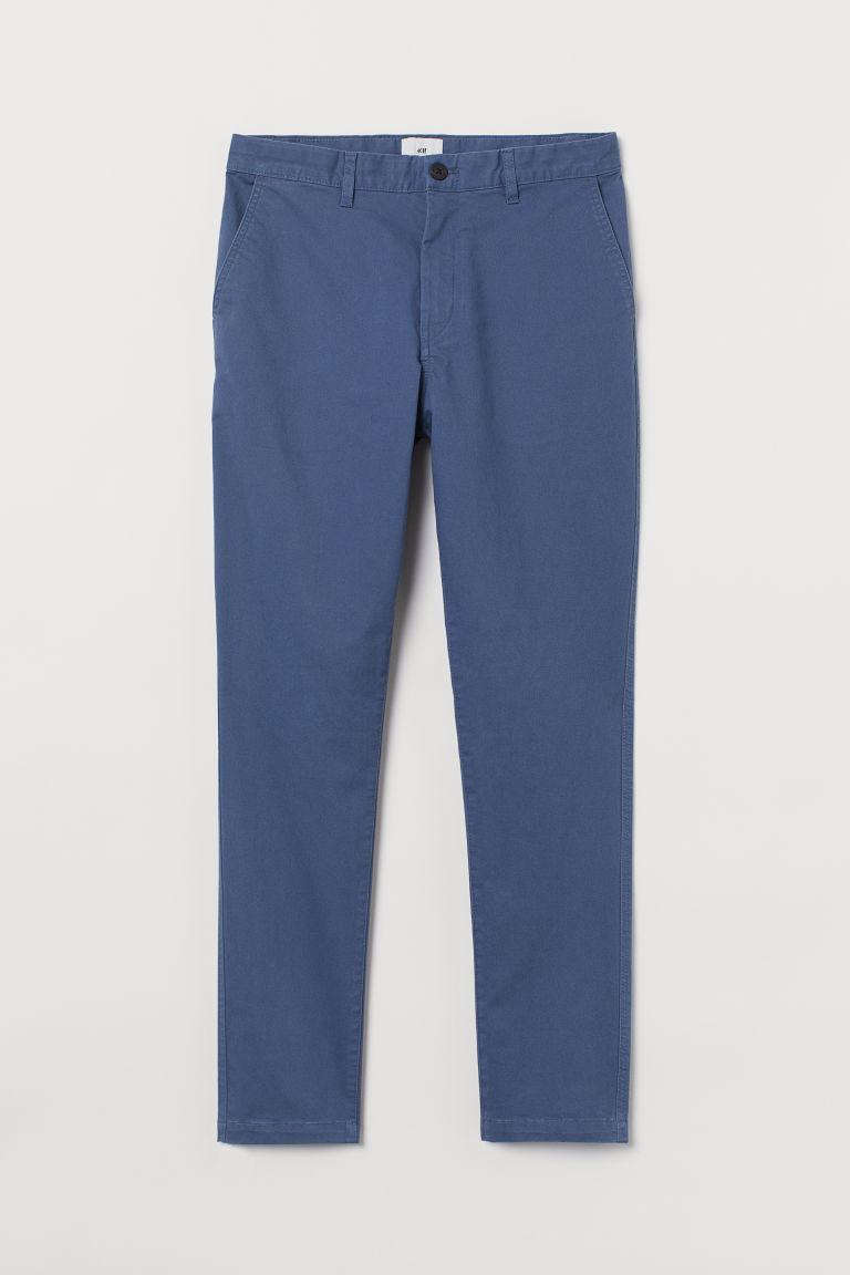 H & M - 緊身棉質卡其褲 - 藍色