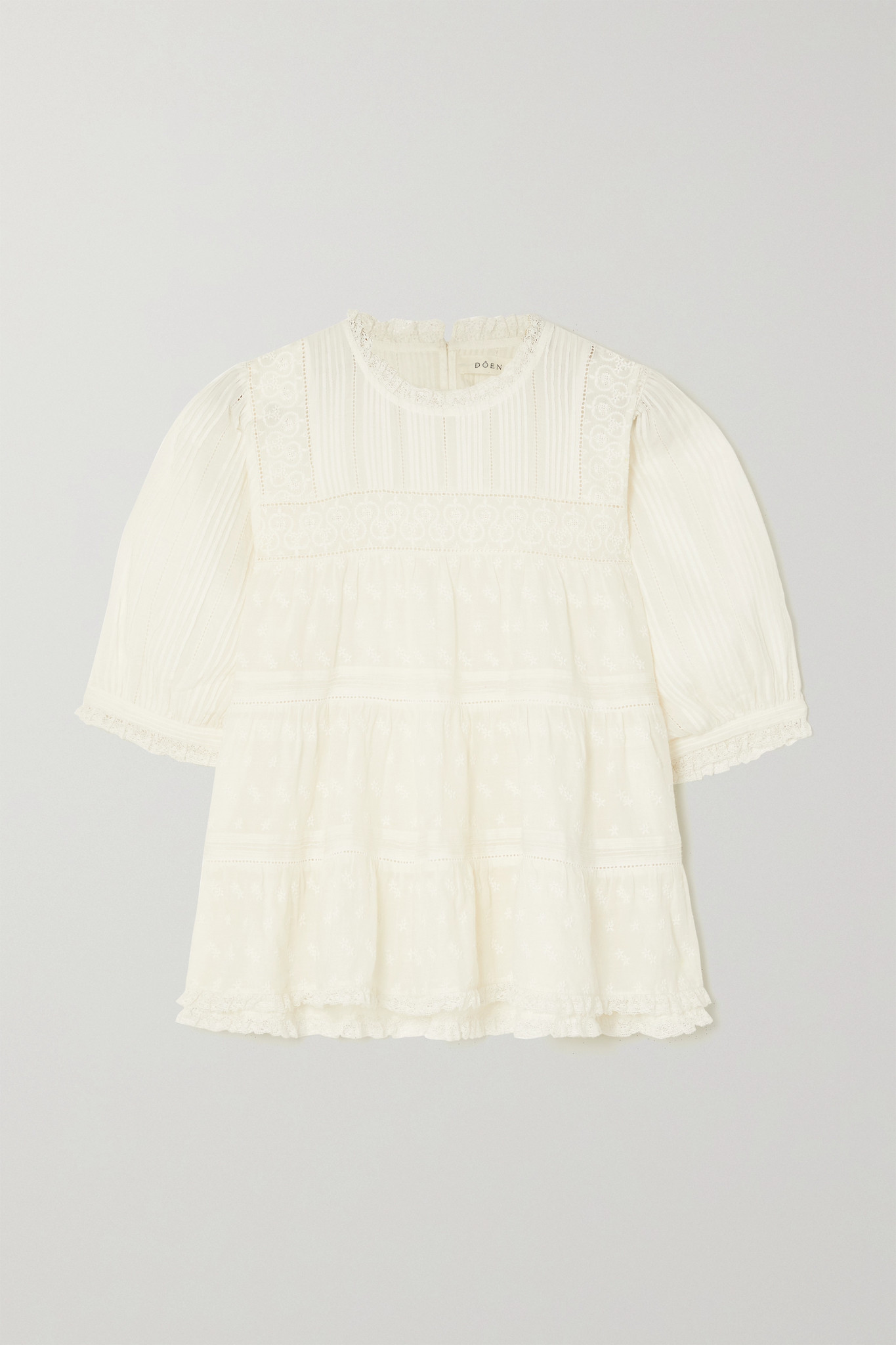 DÔEN - Adnet Embroidered Tiered Organic Cotton-voile Blouse - Ivory - large