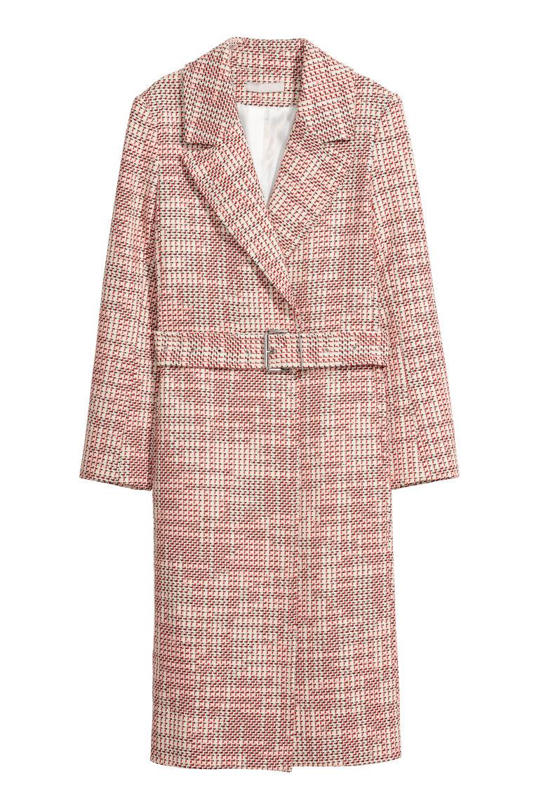 H & M - 紋理感平織大衣 - 紅色
