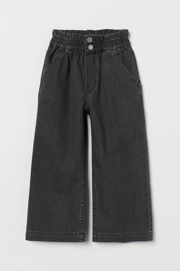 H & M - 寬管九分牛仔褲 - 黑色