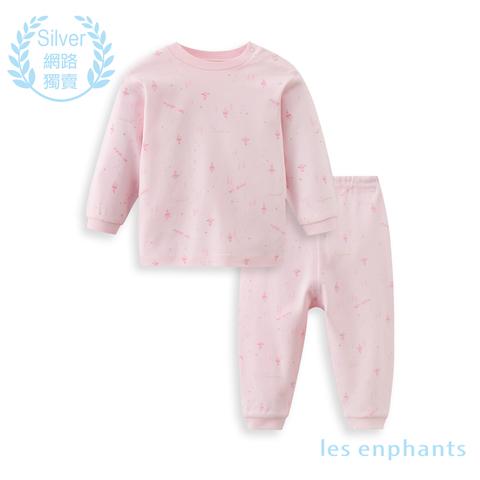 【網路獨家款】les enphants  精梳棉森林半高領套裝-粉色